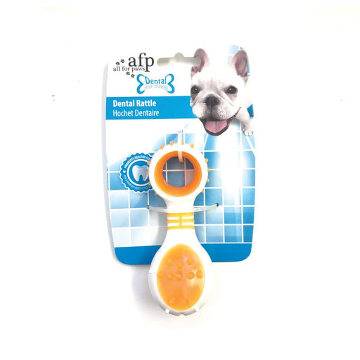 Dog Dental Rattle Orange Teething Rubber Chew Flexible Rigid Clean Teeth Gum AFP-All For Paws-ozdingo