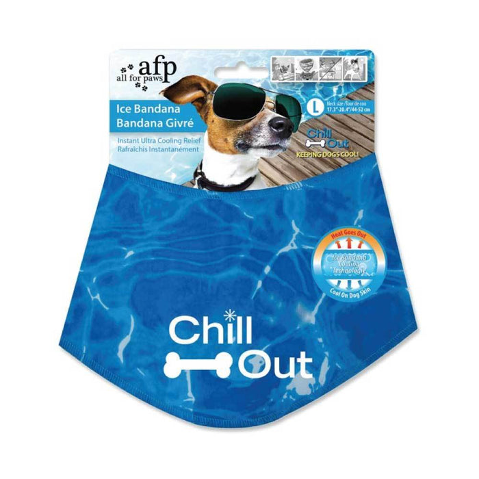 L - Dog Cooling Bandana Ice Neck Collar AFP Chill Out Pet Cool Scarf Cold Large-All For Paws-ozdingo