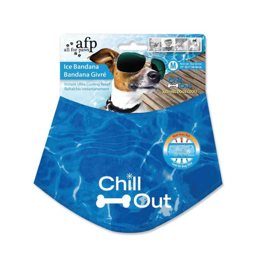 M - Dog Cooling Bandana Ice Neck Collar AFP Chill Out Pet Cool Scarf Cold Medium-All For Paws-ozdingo