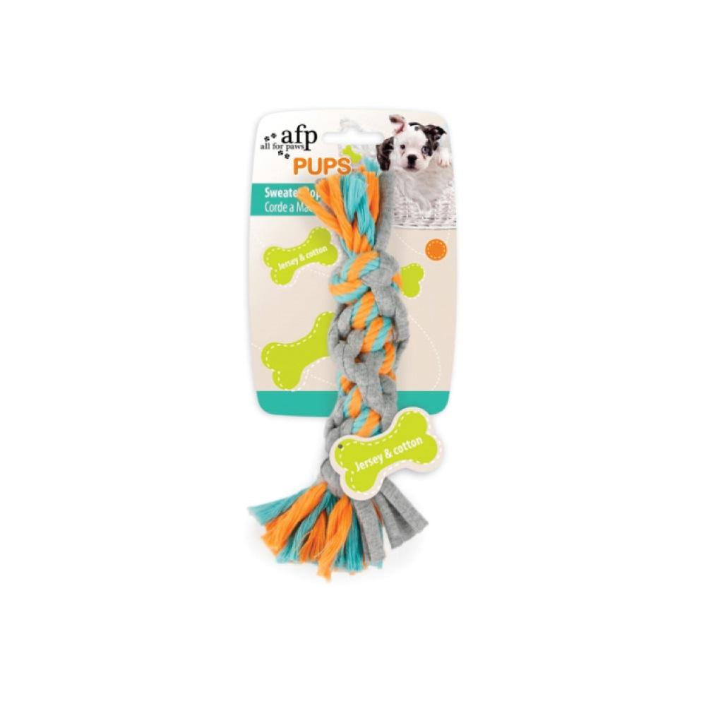 Puppy Chew Rope Toy Knotted Braided Rag Cotton Jersey Dog Teething Play Toys AFP-All For Paws-ozdingo