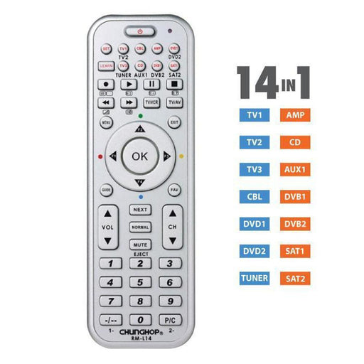 Universal TV DVD SAT TUNER AUX AMP CD Remote Control | Many Brands Compatible-Remotes-Chunghop-ozdingo
