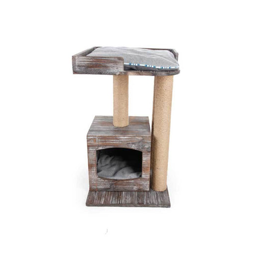 Vintage Cat Scratcher 70cm 3 Posts All For Paws 2 Level Hideaway Playhouse Condo-All For Paws-ozdingo