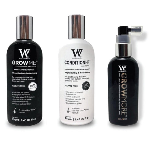 Watermans Grow Me Shampoo Conditioner Elixir Pack Full Hair Growth Anti Loss Kit-Watermans-ozdingo