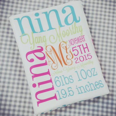 Personalized Baby Blanket- Monogrammed Baby Name Blanket - Personalized Baby Gift