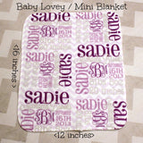 Personalized Baby Lovey - MINI BLANKIE- Personalized Baby Blanket - Monogrammed Baby Gift- Security Blanket Lovie