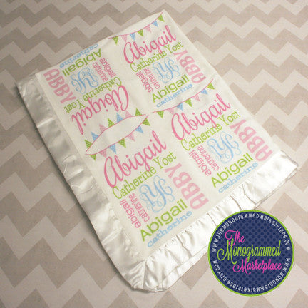 Personalized Baby Blanket -Satin Edge Monogrammed Baby Blanket - Name Baby Blanket - Baby Shower Gift