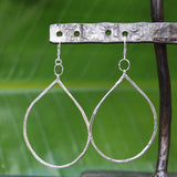 Raindrop - Sterling Silver Hoop Earrings - BreatheAutumnRain
