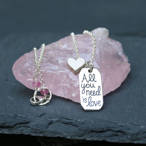 All You Need is Love - Sterling Silver Pendant Necklace