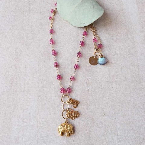 Bali In Bloom - Pink Topaz Elephant Lotus Om Pendants Necklace