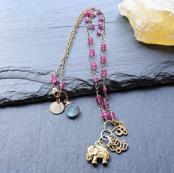 Bali In Bloom - Elephant Lotus Om Pendants Natural Ruby Necklace - main image | BreatheAutumnRain