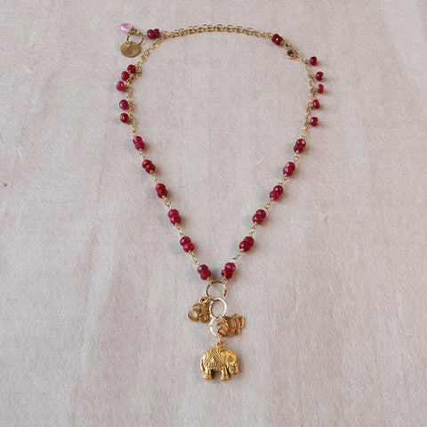 Lotus Full Boom - Ruby Gemstone Necklace