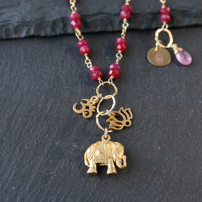 Bali In Bloom - Elephant Lotus Om Pendants Natural Ruby Necklace - closeup image | BreatheAutumnRain