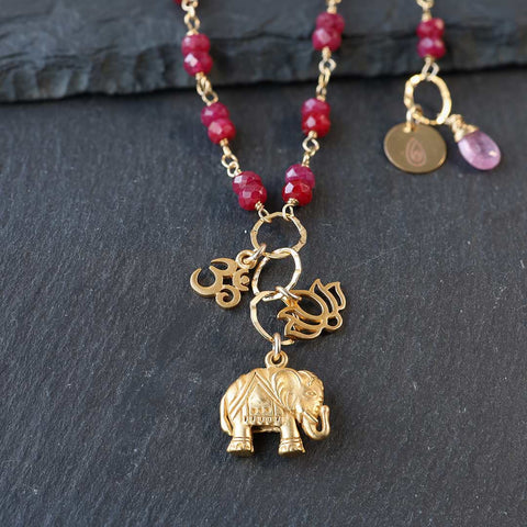 Bali In Bloom - Natural Ruby Elephant Lotus Om Pendants Necklace