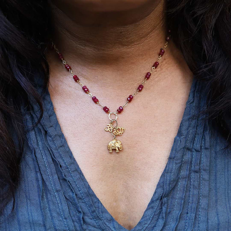 Bali In Bloom - Elephant Lotus Om Pendants Natural Ruby Necklace - life style image | BreatheAutumnRain