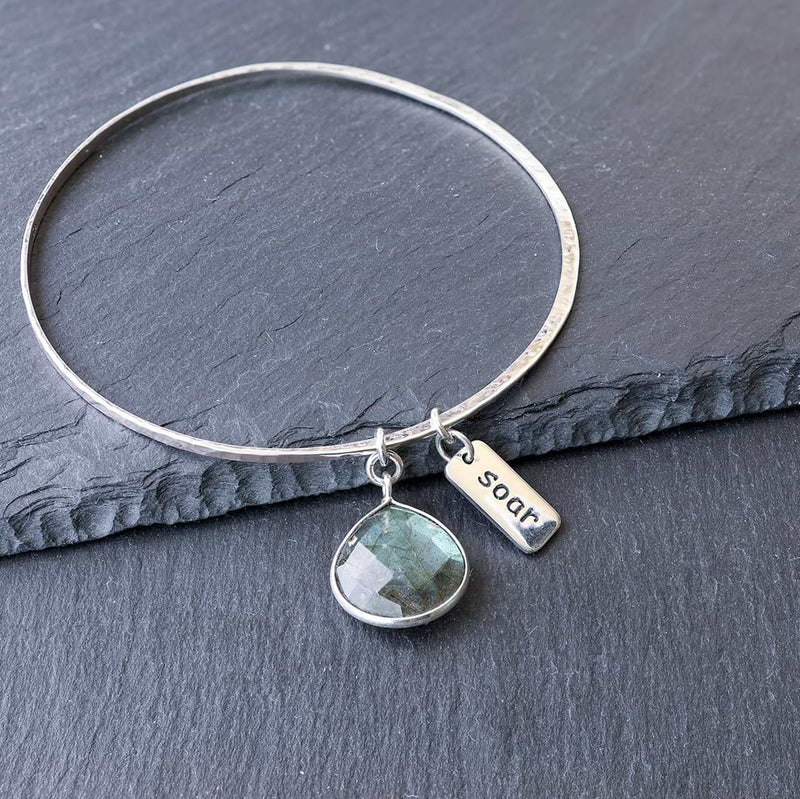 A Bangle of Wishes - Empowerment Word Charm Bracelet - Soar | BreatheAutumnRain