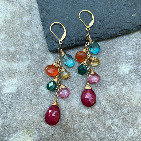 Barcelona Summer - Topaz, Ruby, and Onyx Multi-Gemstone Earrings - main image | BreatheAutumnRain