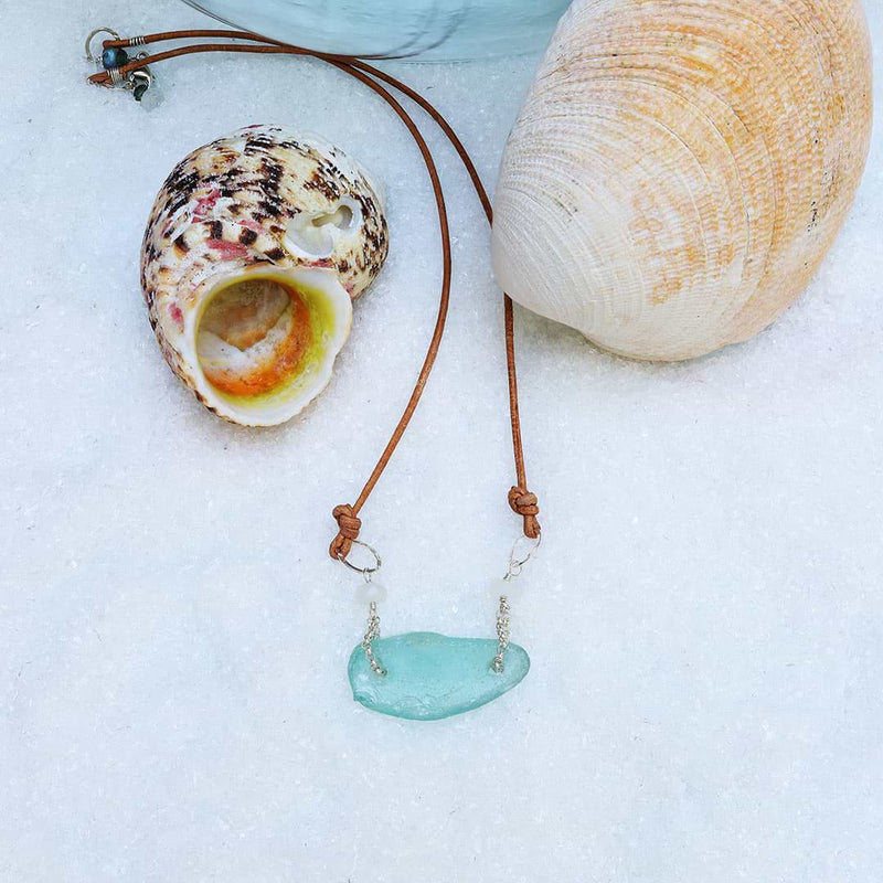 Beach Stroll - Sea Glass Necklace alt image | Breathe Autumn Rain Artisan Jewelry