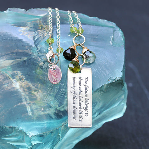 "Believe In Your Dreams ""Forest"" - Tourmaline Pendant Empowerment Necklace"