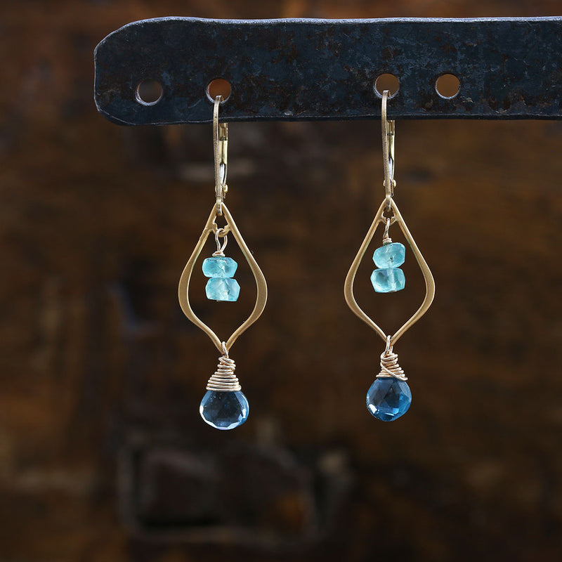 Bluebells & Tidepools - Topaz 24k Gold Vermeil Earrings | BreatheAutumnRain