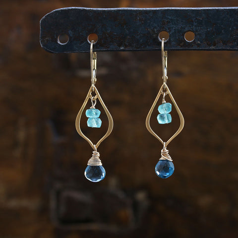 Bluebells and Tidepools - Lond Blue Topaz and Apatite 24k Gold Vermeil Chandelier Earrings