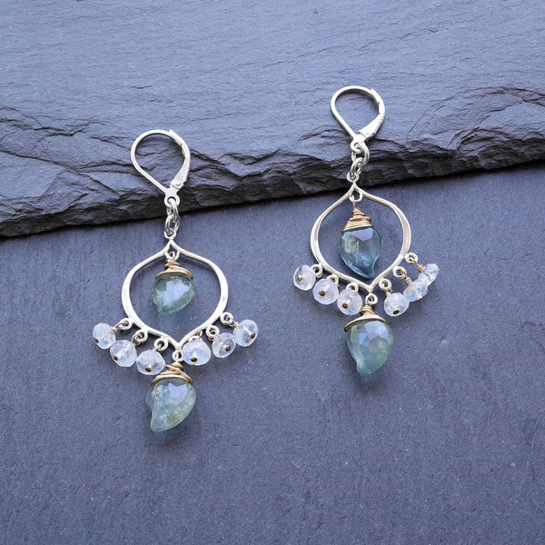 Grayson - Moss Aquamarine Moonstone Sterling Silver Chandelier Earrings - main image | BreatheAutumnRain