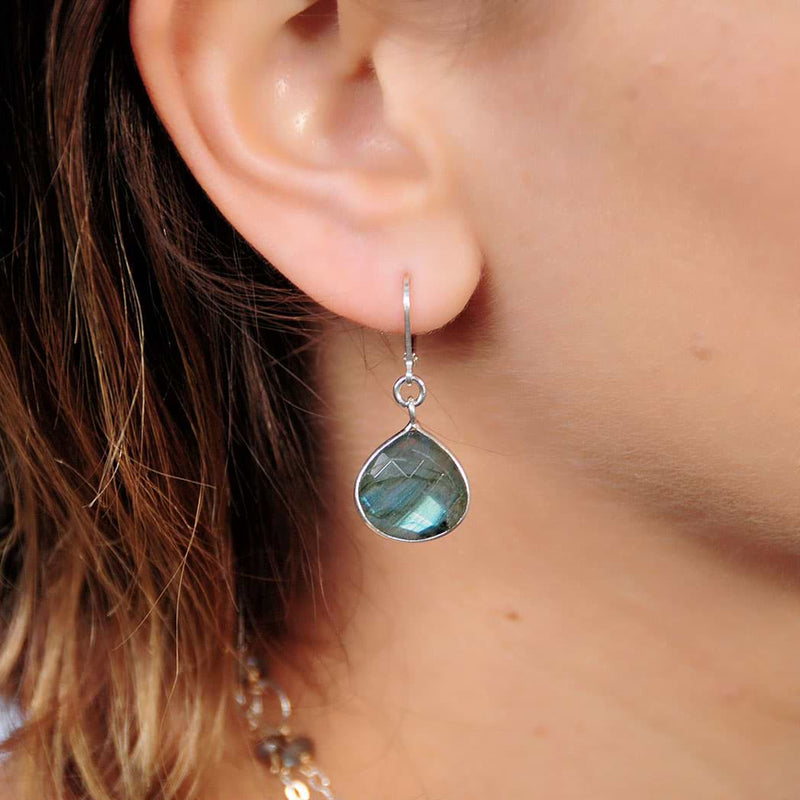 Oslo Nights - Faceted Labradorite Bezel Teardrop Earrings - life style image | BreatheAutumnRain