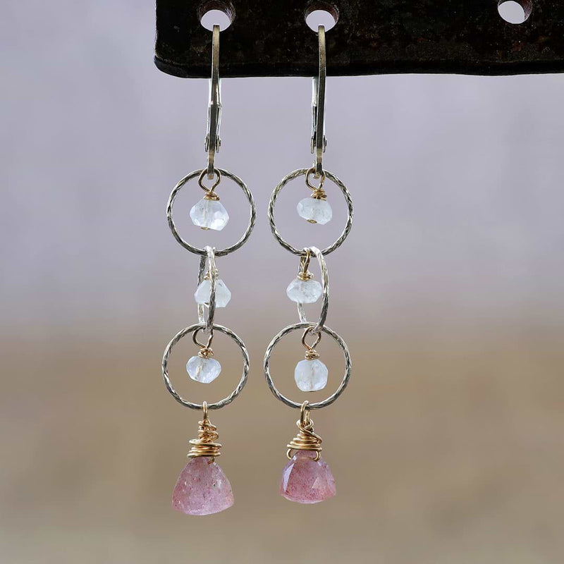 Rosebud First Snow - Cherry Quartz and Moonstone Sterling Silver Tiered Earrings - Main Image | BreatheAutumnRain