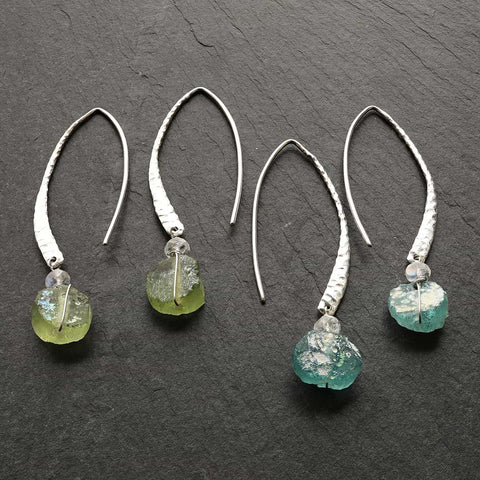 Waterfall - Swiss Topaz and Green (Prasiolite) Amethyst Earrings