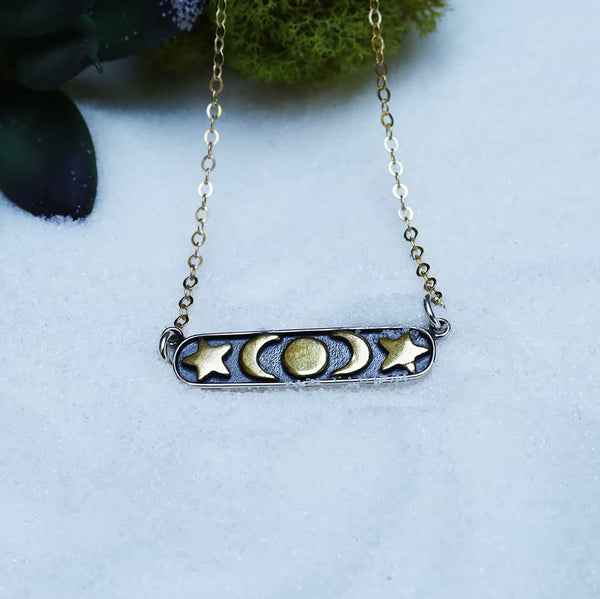 Celestrial Silver Bar Necklace close-up image | Breathe Autumn Rain