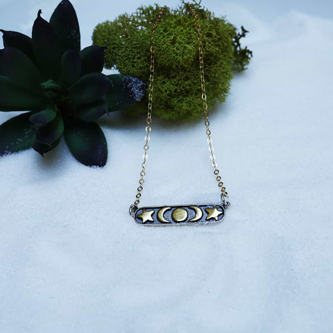 Moon Phase - Delicate Bar Necklace