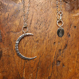Chandra - Large Sterling Silver Hammered Waning Crescent Moon Necklace - alternate image | BreatheAutumnRain