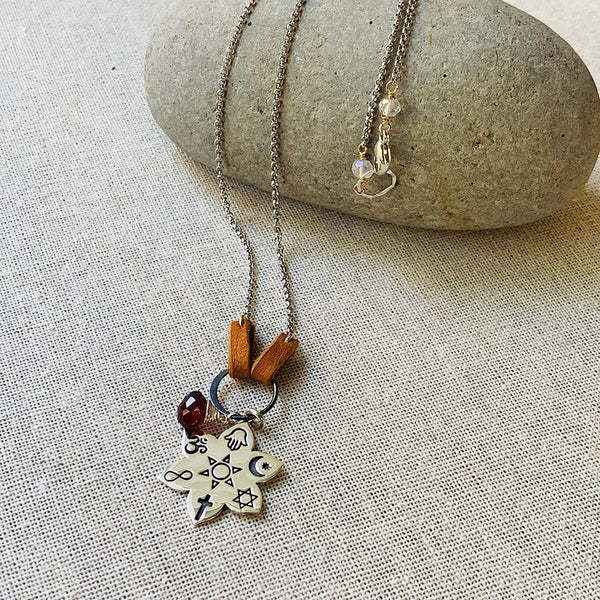 Coexist - Sterling Silver Lotus Blossom Faith Pendant Necklace | BreatheAutumnRain