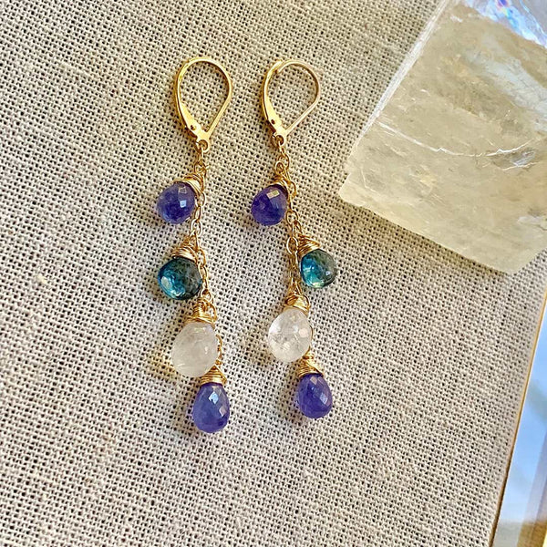 BreatheAutumnRain's Crocus in France - Tanzanite, Moonstone, and Topaz Gold Drop Earrings alternate Image
