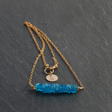 Deep Mizu - Electric Blue Apatite Stacked Gemstone Necklace - BreatheAutumnRain