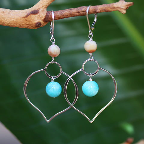 Dharma-Single - Lotus Petal Chandelier Earrings with Amazonite