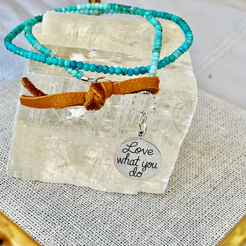 Do What You Love - Turquoise Bead Double Wrap Empowerment Charm Bracelet