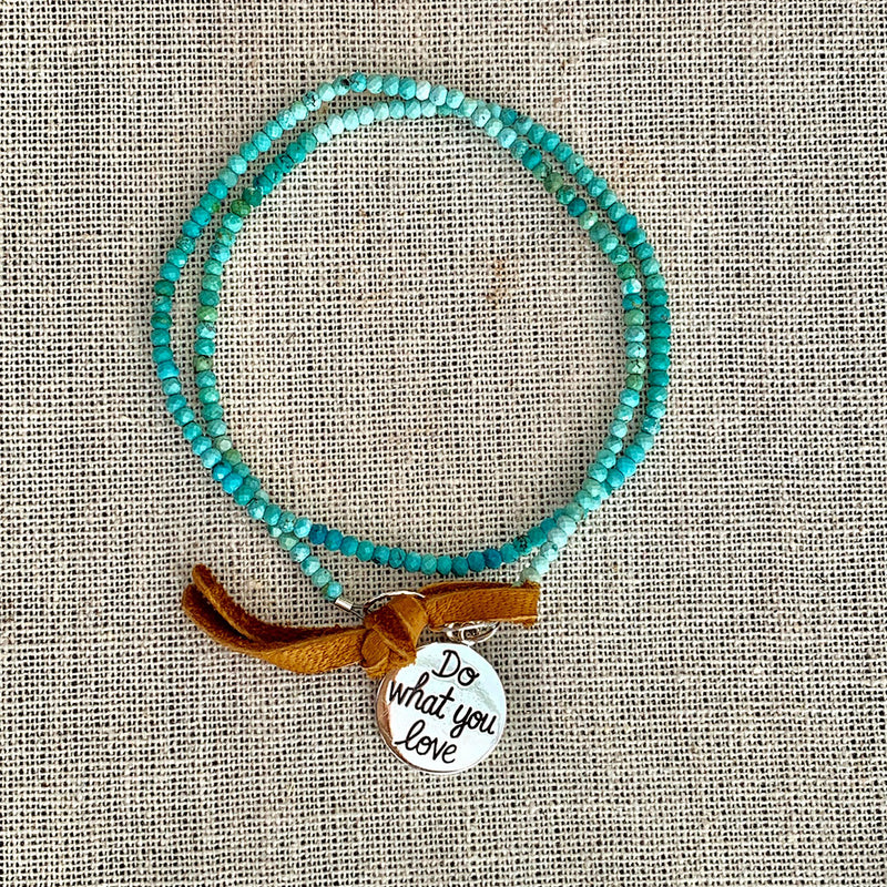 Do What You Love - Turquoise Bead Double Wrap Empowerment Charm Bracelet - Alt Image | BreatheAutumnRain