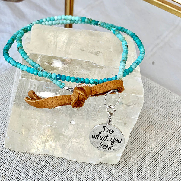 Do What You Love - Turquoise Bead Double Wrap Empowerment Charm Bracelet - Front Image | BreatheAutumnRain