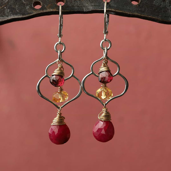 Dreaming of Bali - Ruby, Garnet, and Citrine Chandelier Earrings - main image | Breathe Autumn Rain Artisan Jewelry