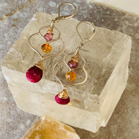 Rosebud First Snow - Cherry Quartz and Moonstone Sterling Silver Tiered Earrings