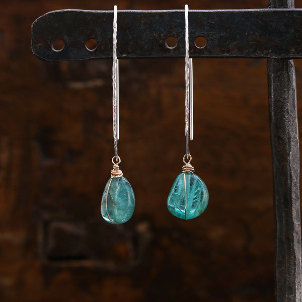 Exquisitly Simplistic - Apatite Sterling Silver Earrings | BreatheAutumnRain