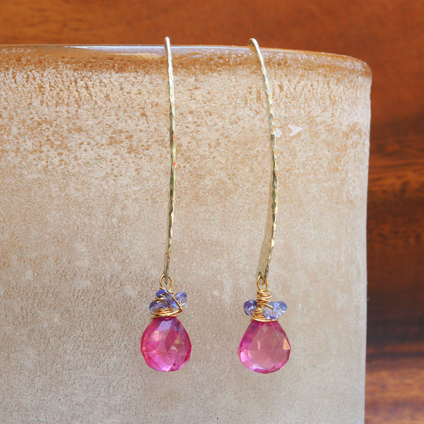 Field-In-Bloom - Pink Sapphire Hammered Sterling Silver Earrings | BreatheAutumnRain