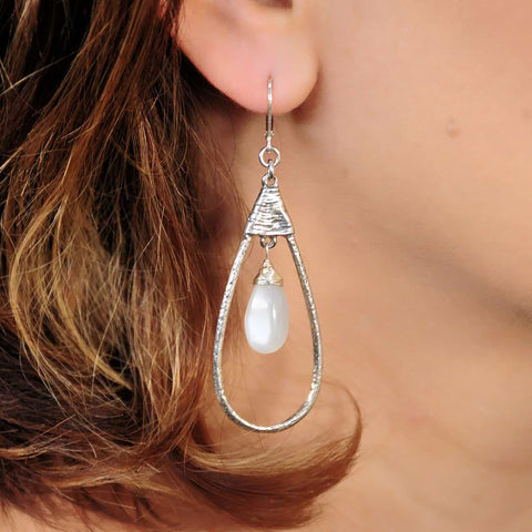 Firefly Glow - Moonstone Sterling Silver Teardrop Earrings