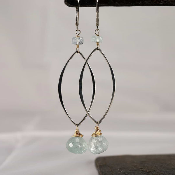 First Frost - Aquamarine Long Drop Earrings - Main Image | Breathe Autumn Rain Artisan Jewelry