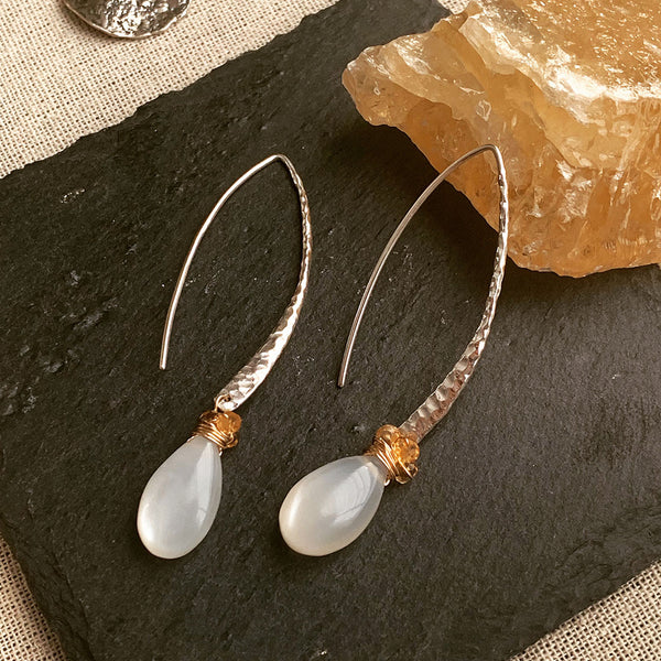 First Snow - Moonstone Hammered Sterling Silver Drop Hook Earrings | BreatheAutumnRain