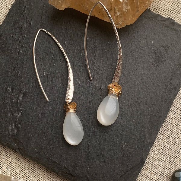 First Snow - Moonstone Hammered Sterling Silver Drop Hook Earrings - Alt Image | BreatheAutumnRain