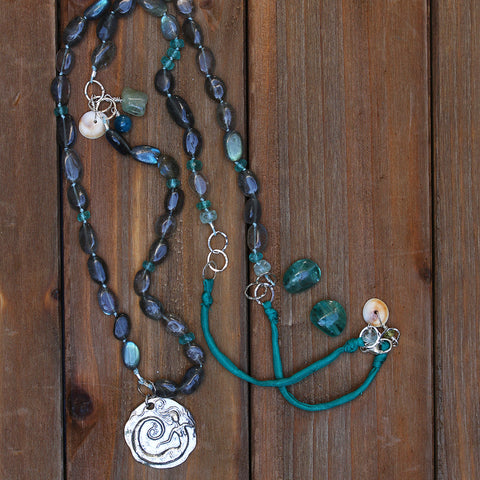 Mizu - Teal Blue Apatite Stacked Gemstone Necklace