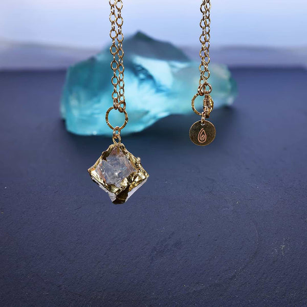 Gold-on-the-Rocks - Aquamarine Beryl Cube Necklace main image | BreatheAutumRain