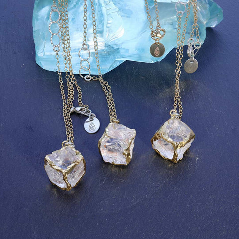 Gold-on-the-Rocks - Aquamarine Beryl Cube Necklace