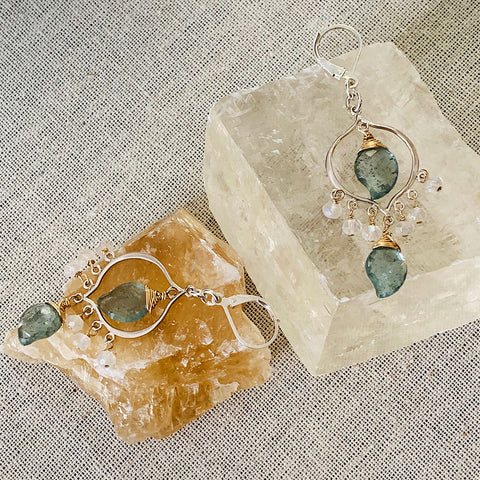 Grayson - Moss Aquamarine and Moonstone Sterling Silver Chandelier Earrings